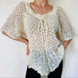 Free People Ivory Lambswool Mohair Blend Knit Sweater
